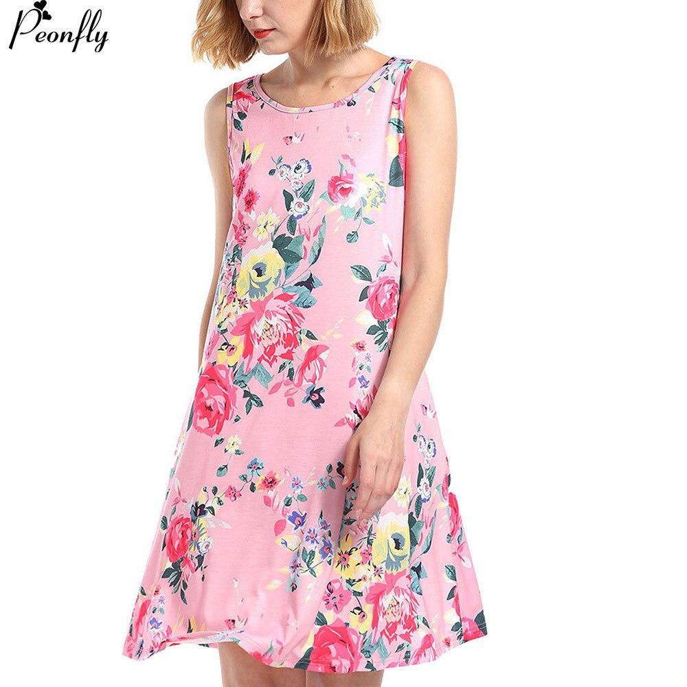 PEONFLY Mini Women Summer Dress And Sundress 2018 Casual Vintage Print Loose Beach Dress pink Elegant Party Dress Robe Femme