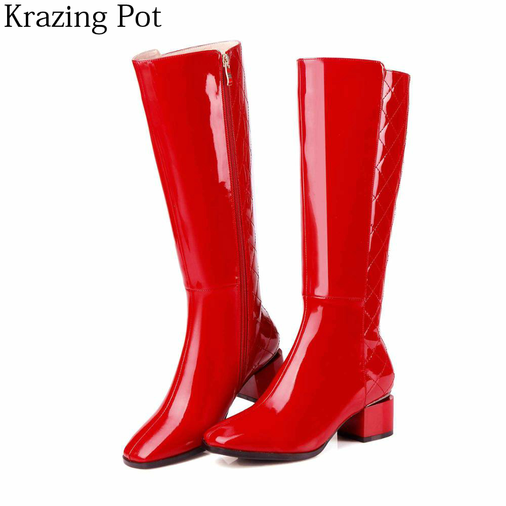 2018 New Arrival Large Size Genuine Leather Med Heels Square Toe Thigh High Boots Zipper Streetwear Party Knee-high Boots Lyc