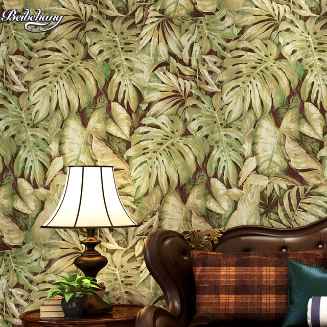 Beibehang Personality Southeast Asia Banana Leaf Sofa Fence Aisle Background Wallpaper Cafe Decoration Net Coffee