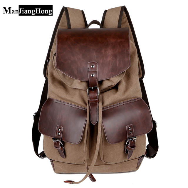 dc04b8ef9755 High Quality Vintage Fashion Casual Canvas Microfiber Leather Women Men  Backpack Backpacks Shoulder Bag Bags For