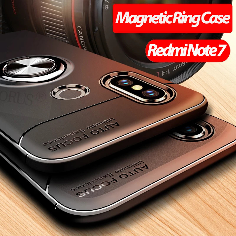 ALLORUS Redmi Note 7 Ring Case Magnetic Car Holder Cover for Pro Shockproof Silicone phone