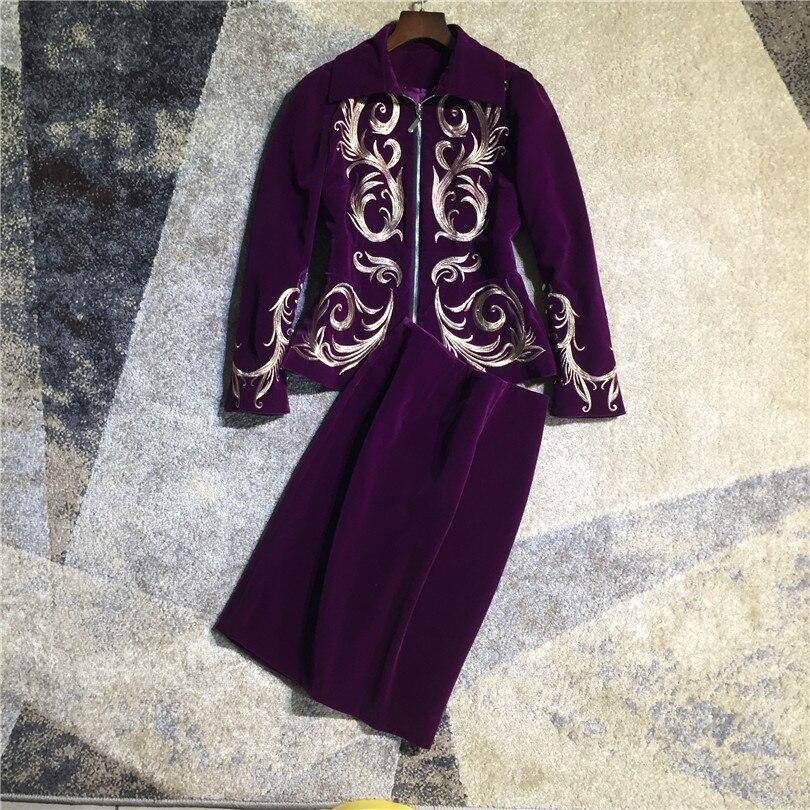 Dos Mujer Color Nuevo Vintage Pensil Piezas Cremallera 2018 Elegante Bordado  Falda Dorado Traje Chaqueta Línea Púrpura Frontal Terciopelo wnZwqxO 272020c00f99