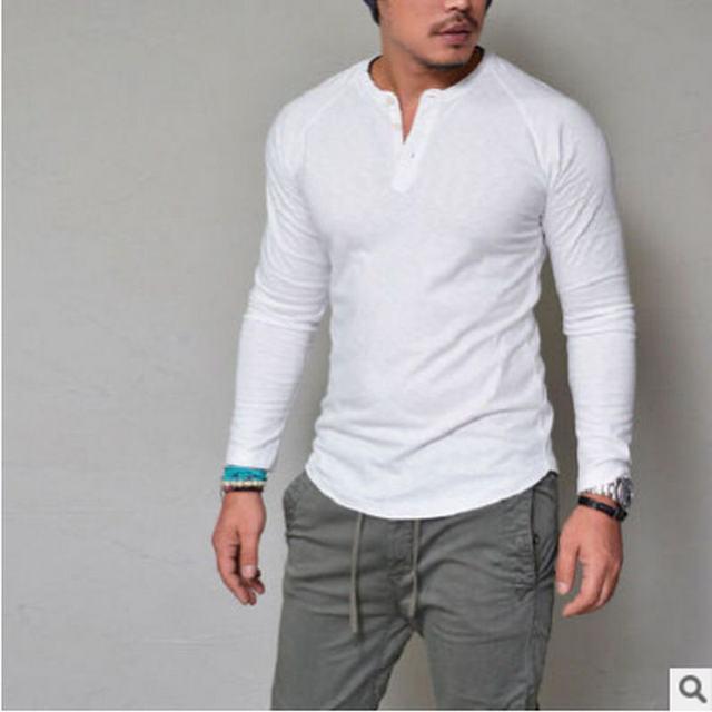 0c05dea25 € 5.7 20% de réduction|Chaud 2018 nouveau printemps mode o cou Slim Fit à  manches longues T Shirt hommes tendance décontracté hommes T Shirt ...