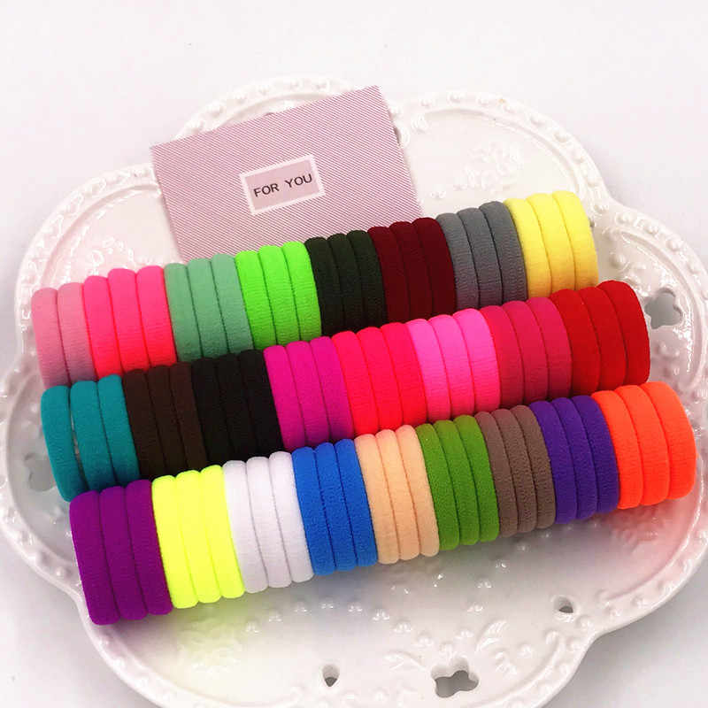 50PCS/Lot Girls And Kids Hair Accessories Rubber Bands Candy Color The Ponytail Holder Elastic Hair Bands Headwear 3cm