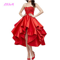 Sweetheart Beaded Pleated Flare Satin Homecoming Dress Hi Low Red Party Gowns Elegant Prom Dress 2019