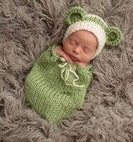 Newborn Fotografia Rekwizyty Szydełka Stroje Green Bean Kostium Knit Beanie Hat Zimowe Odzież Dla Niemowląt Prysznic Prezent Photo Prop