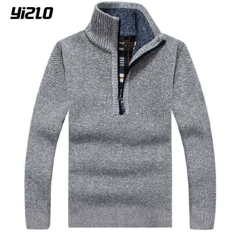 yizlo 2017 New fashion font b men s b font With warm cashmere font b sweater
