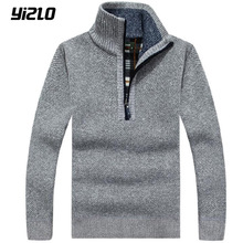 yizlo 2017 New fashion men's With warm cashmere sweater collar half zip Sweaters M-3XL
