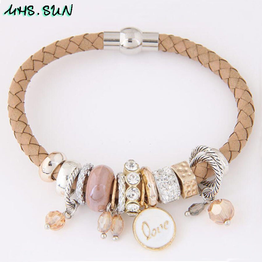 5-1Fashion Women Leather Bracelets Bangles With Beads Crystal Ethnic Bohemia Bracelets Girls All-Match Jewelry For Gift