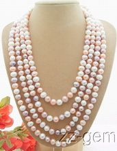 "95"" Natural 10mm Pink And Purple Pearl Necklace"
