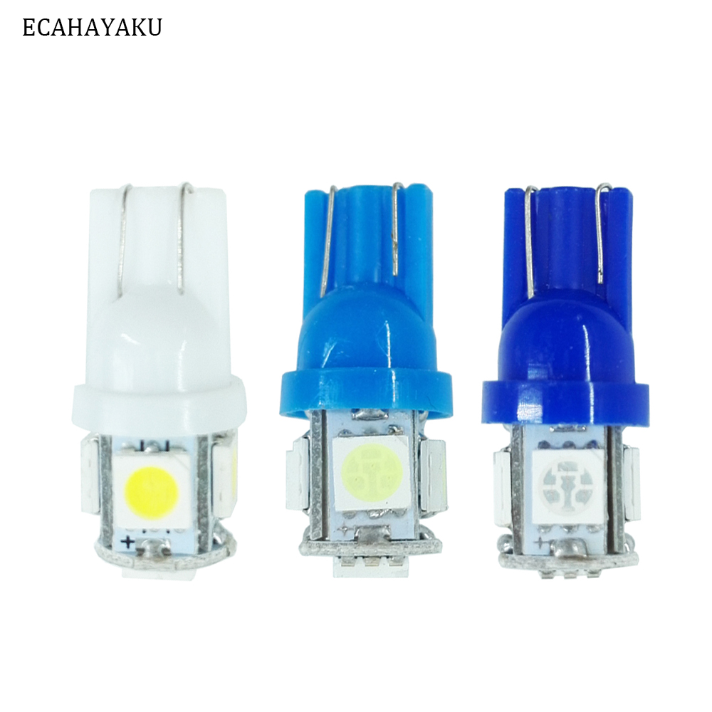 ECAHAYAKU 1pcs T10 W5W 5050 5 SMD 194 168 LED white/blue/ice blue Wedge Light Bulb Lamp  corner light Car Styling