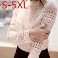 S-5XL Moda Primavera Outono Mulheres Blusas de Renda Recorte da Longo-luva Camisa Branca Desgaste do Trabalho OL Blusa Tops Mais tamanho