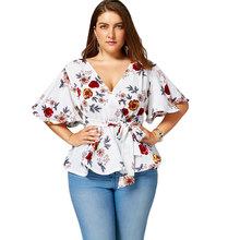 Wipalo Plus Size Floral Belted Surplice Peplum Blouses Shirts Women Blouses Sexy V Neck Flare Sleeve Beach Chiffon Ladies Tops(China)
