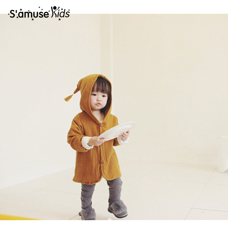 2017 Baby Girls Cotton Linen Coats With Hat Kids Clothes Spring Autumn Thin Outwear Soft Comfortable
