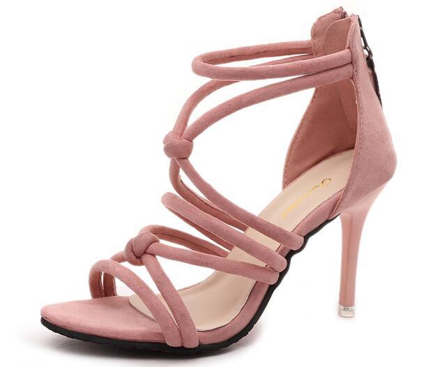5f6ae5663865 Mujer sandalias 2016 verano marca elegantes tacones altos Mujer negro rosa  gris s zapatos de vestir sandalias de tacón de aguja M32 en Sandalias de  las ...