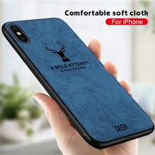 3D Deer Pattern Fabric Cloth Phone Cases for iPhone 7 6 8 6s Plus 11 Pro X XR XS Max TPU Bumper ShockProof Cover