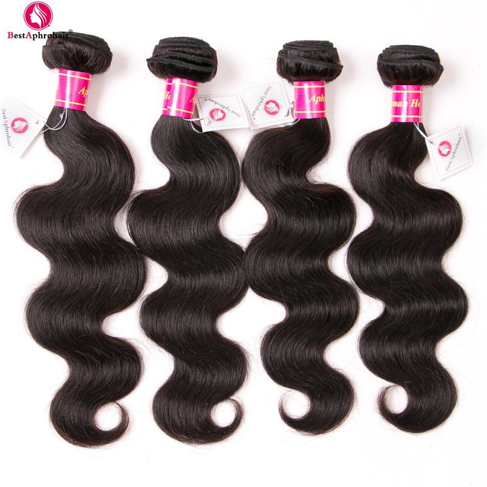 Brazilian Hair Weave 4 Bundles Deals 8-28inch Body Wave Hair Bundles #1B Natural Color Aphro 100% Human Hair Extensions Non Remy