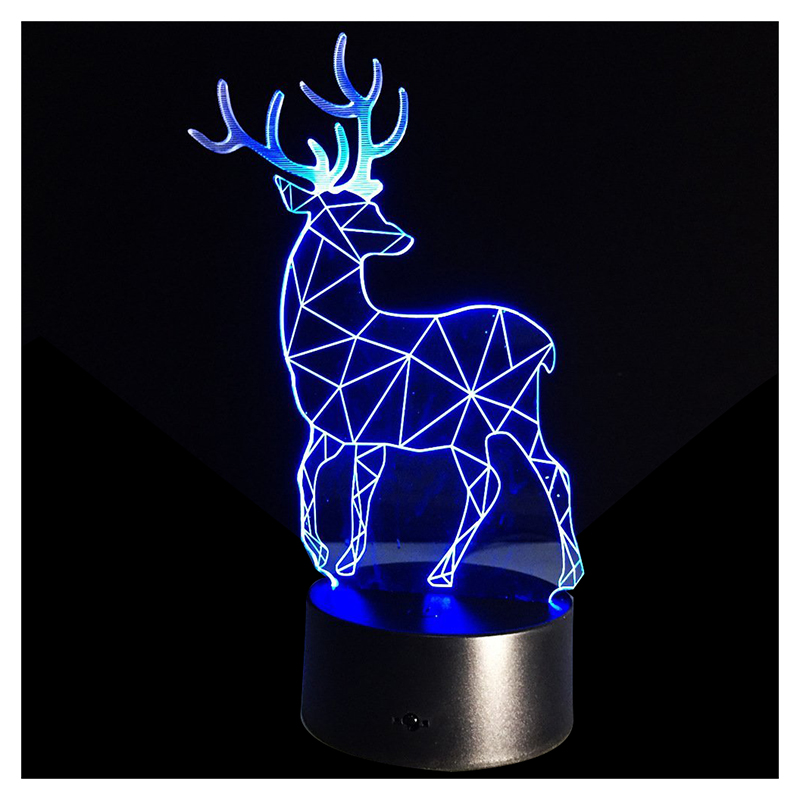 3D Optical Illusion Lamp 7 Colors Change Touch Button Christmas Reindeer LED Night Light Black+Transparent