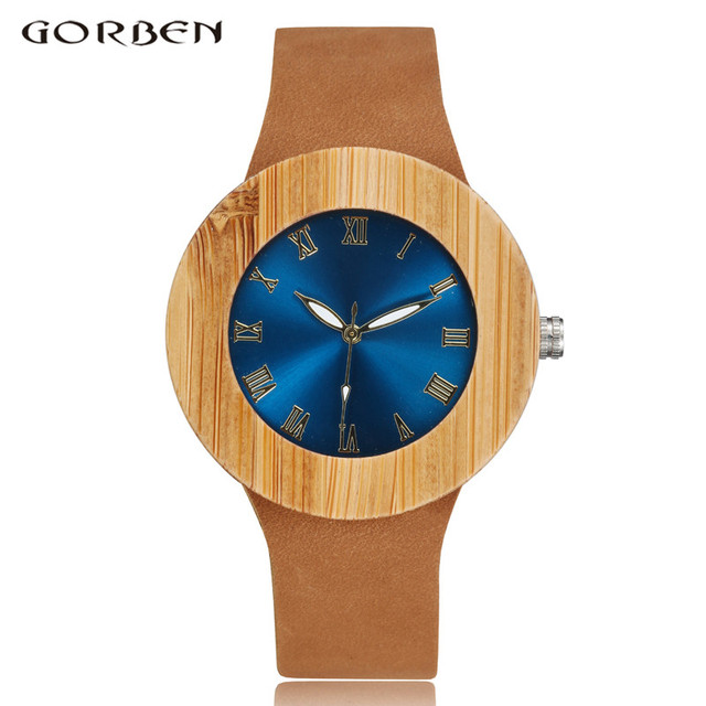 2017 GORBEN Brand Fashion Bamboo Ladies Wooden Watches For Women Luxury Royal Blue Green Shining Dial Leather Top Womens Watches