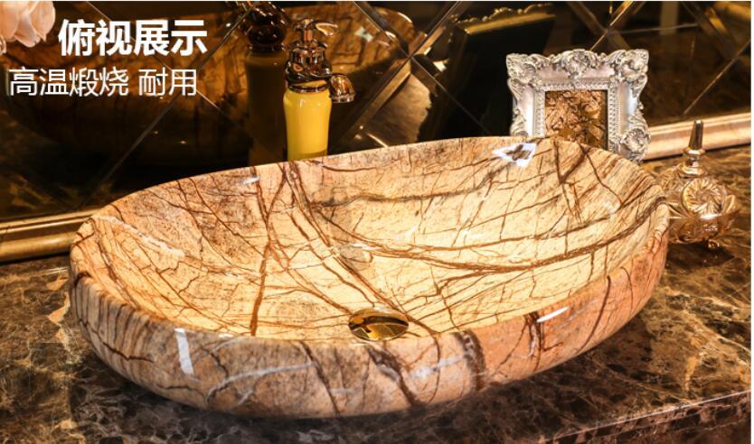 Bagno controsoffitto in ceramica Vessel sink Ovale Guardaroba lavabo fatto A mano bacino di arte LGQ013