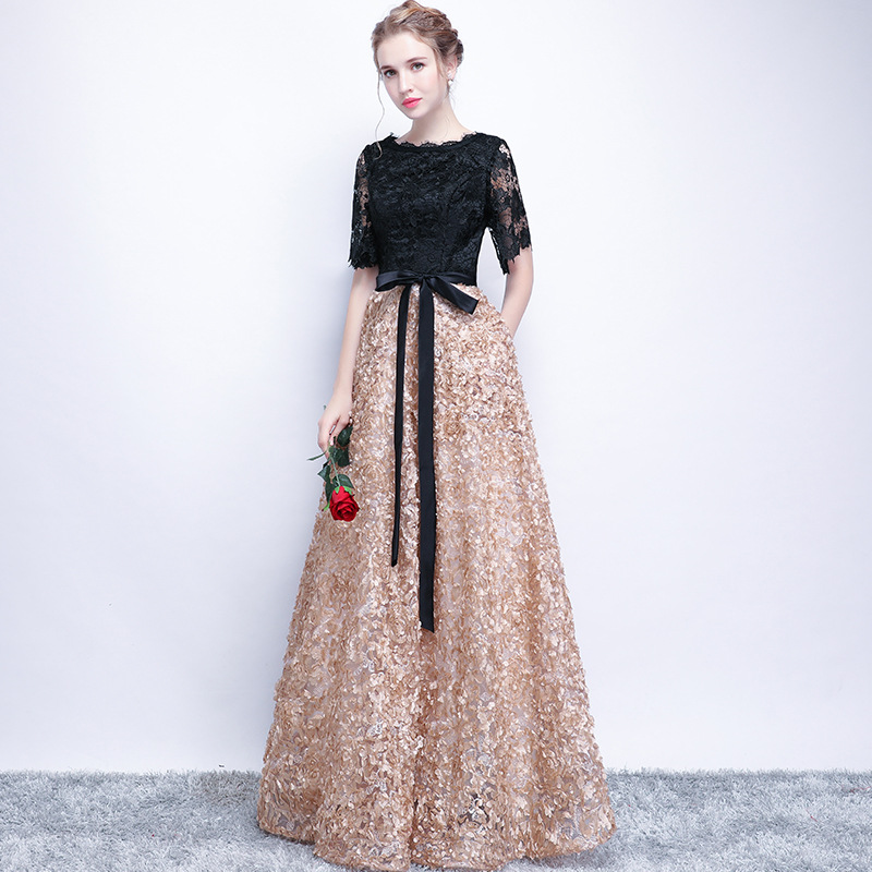 Simple Sashes Long   Evening     Dresses   2019 Lace Plus Size Women Prom   Dresses   banquet