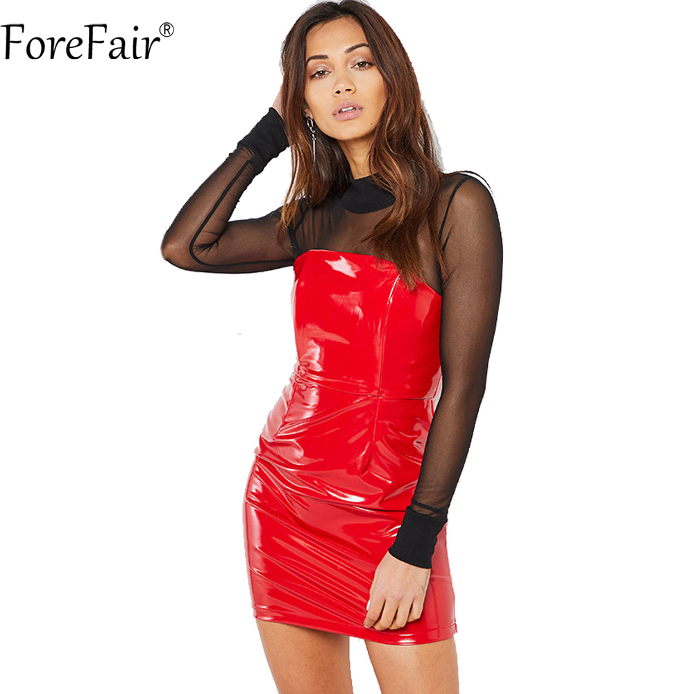 ForeFair Red Black Glossy PU Leather Dress Sexy Strapless Mini Bodycon Club Party Dresses Women