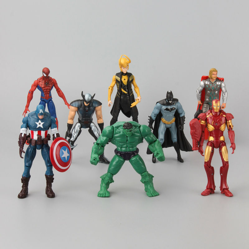 8 pcs/Set Superheroes Marvel The Avengers Captain American Hulk X-men Spiderman Mini PVC Action Figure Toys Dolls 12- 18 CM new moive the avengers american captain hulkbuster hulk action figure cute version 12cm height toys collection models kids gift