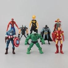 8 pcs/Set Superheroes  Marvel The Avengers Captain American Hulk X-men Spiderman Mini PVC Action Figure Toys Dolls 12- 18 CM