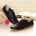 Women shoes Genuine leather flats shoes low price cow split women dress shoes Blue/Pink/White/Black pointed toe lace up