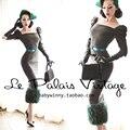 БЕСПЛАТНАЯ ДОСТАВКА Le palais винтаж лимитированная серия элегантный изумрудный лоскутное шерстяные облегающее платье/Женская Одежда