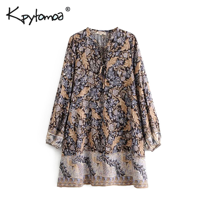 e63cda9c75829 Bohemian Floral Print Oasis Mini Dress Women Long Sleeve V neck Sexy ...