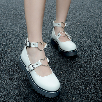 dropship Student Shoes College Girl LOLITA Shoes Cosplay JK Uniform Women Flats PU Leather Heart-shaped Platform Shoes 1