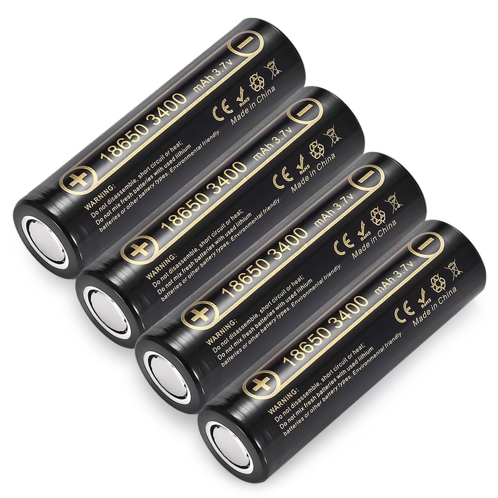 4pcs HK LiitoKala Lii 34A 3 7V 18650 3400mah battery for NCR18650B 34B Rechargeable Battery for