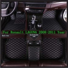 New 3D Leather Car Floor Mats For Renault LAGUNA 2008-2011  Custom Auto Foot Pad Automobile Carpet Cover Waterproof Mat