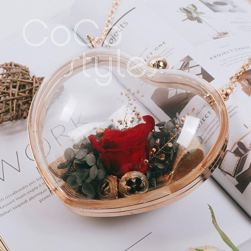 Cocostyles personnalisé blanc luxe coeur forme acrylique fleur sac pour mode mariée mariage fleur cadeau sac - 3