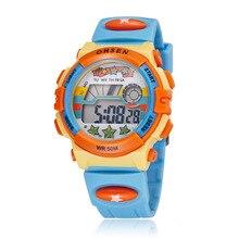 Luz azul Niños Deportes Relojes LED Digital de Cuarzo Reloj de Pulsera Relogio Impermeable Al Aire Libre feminidad 1603-4