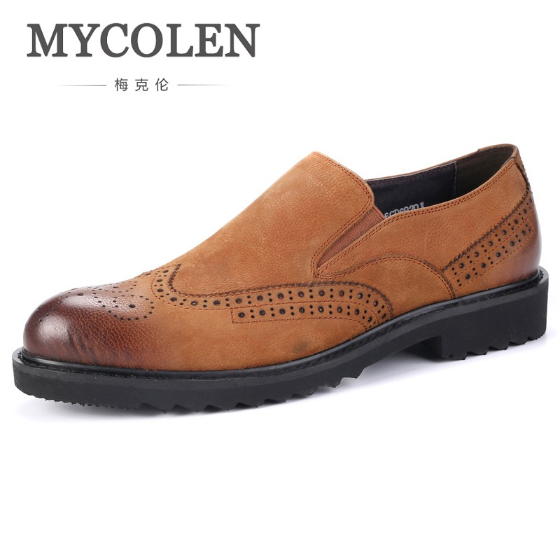 MYCOLEN Fashion Men's Business Dress Brogue Shoes For Wedding Party Retro Leather Black Brown Round Toe Slip-On Oxford Shoes mycolen new arrival british style round toe mens leather shoes fashion wedding party business brogue shoes chaussure homme