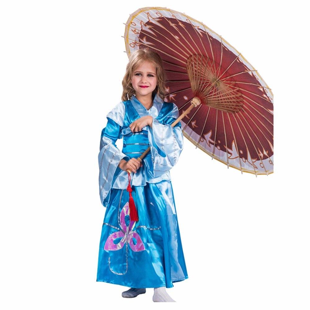 Child Geisha Costume Blue Kimono Girls 2017 Japan Carnival Cosplay Robe Corset 2 Piece Set Cheap Halloween Costumes For Kids