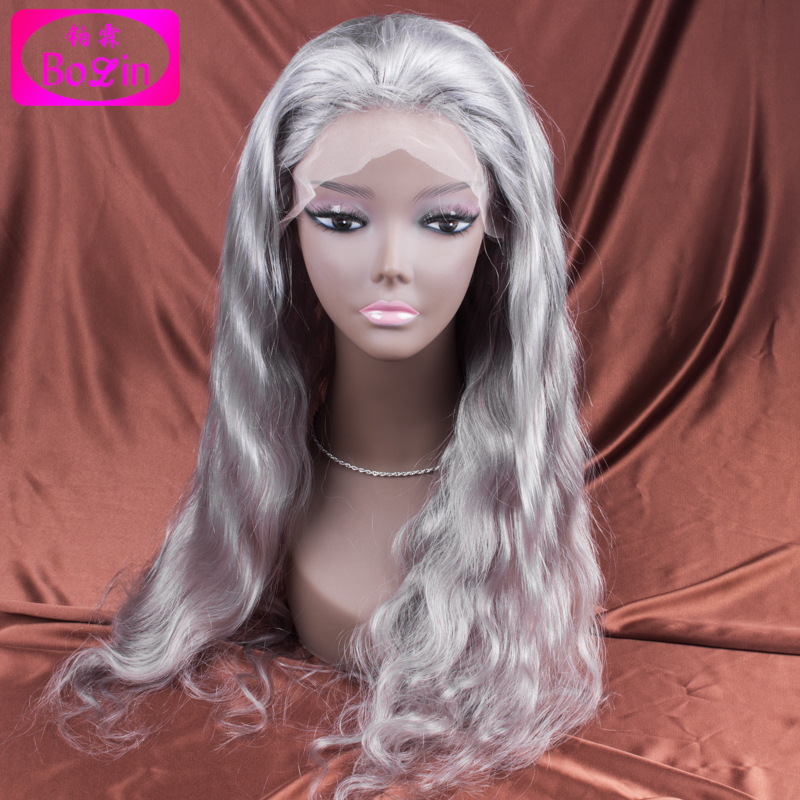Brazilian Grey Full Lace Human Hair Wigs Wavy Silver Gray