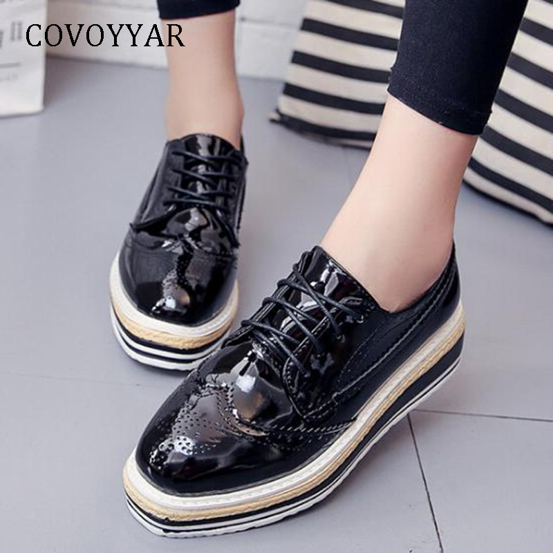 1d5a1aec18b COVOYYAR 2019 Brogue Shoes Women Patent Leather Platform Wedge Casual Shoes  Comfort Lace Up Lady Fashion