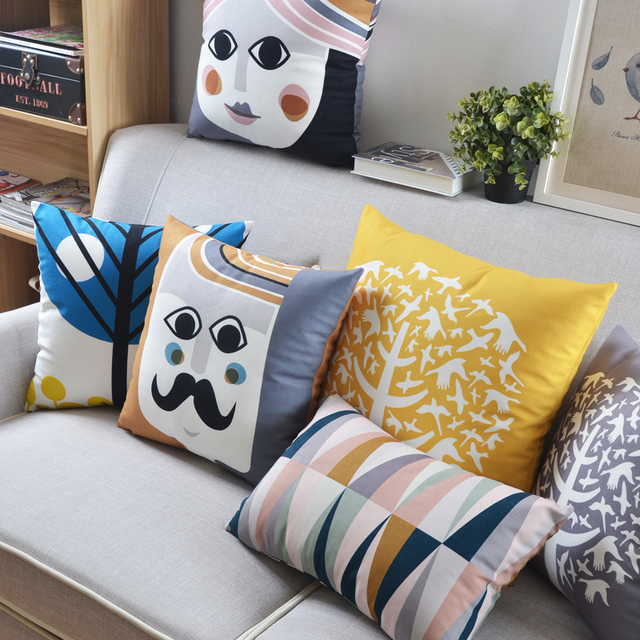 Free Shipping Plush Scandinavian Style Seat Cushion Modern Minimalist Cushions For Sofas Stylish Geometric Throw Pillows