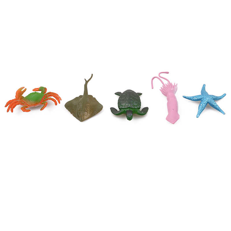 16 pçs/set Plástico Figuras de Animais Marinhos Do Mar Oceano Criaturas Do Mar Vida Tubarão Baleia Caranguejo Crianças Peixe de Brinquedo Em Miniatura