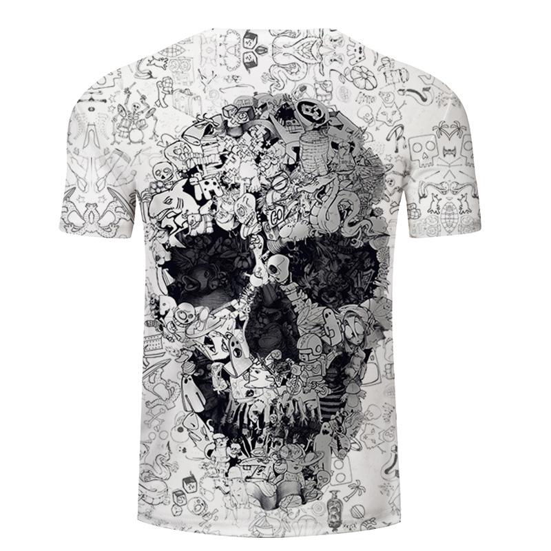 Camiseta blanca 3D calavera 5