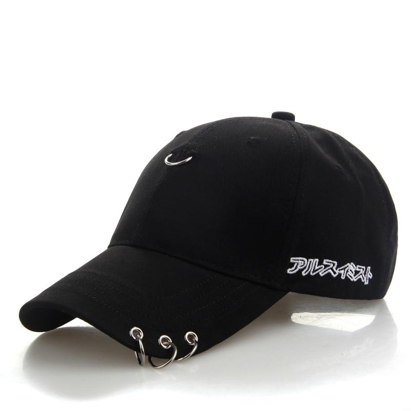 baseball caps brand women men solid baseball cap hats snapback caps Safety Pin Ring Hoop design hip hop hats winter autumn