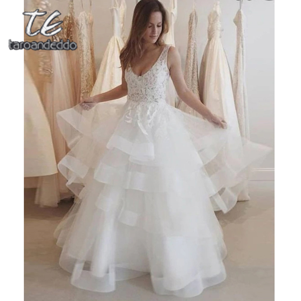 V Neck Wedding Dresses Tiered A Line Open Back Sleeveless