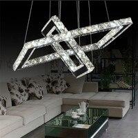 K9 Crystal Led подвесные светильники квадратный 2 кольца Нержавеющаясталь зеркало подвесной светильник Hanglamp для столовой гостиной