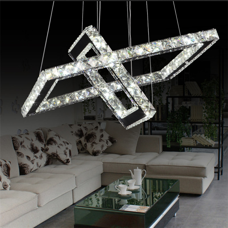 K9 Crystal Led Pendant Lights Square 2 rings Stainless Steel Mirror Suspension Luminaire Hanglamp For Dinning Room Living room free shipping modern led crystal pendant lamps crystal pendant lights round rings stainless steel dinning living room lights