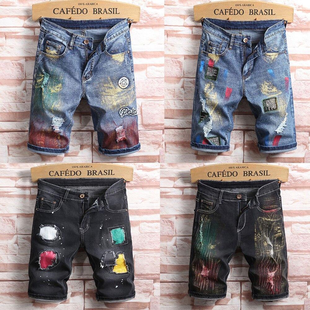 2019 Summer New Top Men Jeans Shorts,Blue Black Color Fashion Designer Short Ripped Jeans For Men Denim Shorts Knee Length!