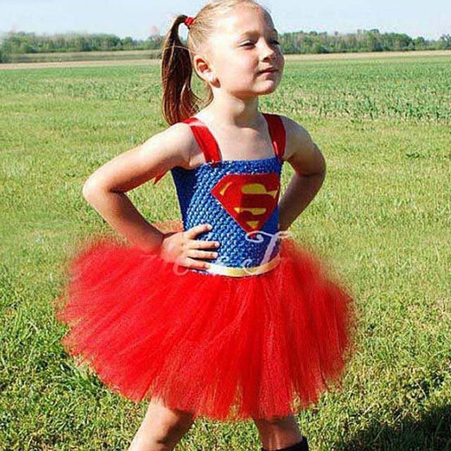 Rainbow Tutu Dress Child Supergirl Costume Cosplay Kids Superhero Fancy Party Dress Halloween Superman Costume Outfits  sc 1 st  AliExpress.com & Rainbow Tutu Dress Child Supergirl Costume Cosplay Kids Superhero ...
