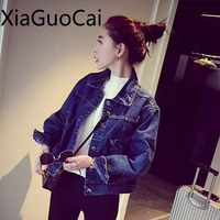 Woman S Jackets Spring And Autumn Ladies Short Loose Denim Coats Turn Down Collar Sulid Long